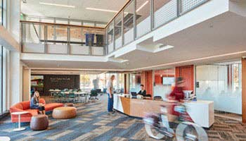 The new lobby of the expanded and transformed Tutt Library at Colorado College