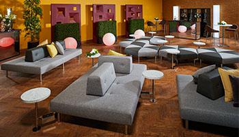 Powered Double Island Sofa w/ Marble Tables | ILAP54 & ILAP53