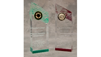 One of a kind acrylic award, available in many colors
