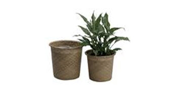 10 Inch Natural Rolled Rim Palm Leaf Potcover