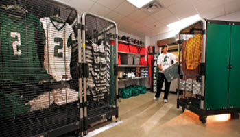 MOBILE, HIGH-DENSITY ATHLETIC EQUIPMENT STORAGE
